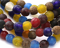 African Recycled Glass Multi Color Mix Tumbled Round 10-14mm