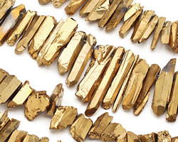 Metallic Gold Coated Quartz Faceted Stick Drop 4-11x18-46mm