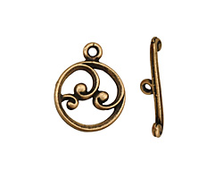 Antique Brass (plated) Circle w/ Swirls Toggle Clasp 18x15mm, 21mm bar