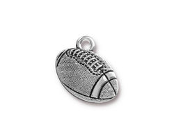 TierraCast Antique Silver (plated) Football Charm 18x17.5mm