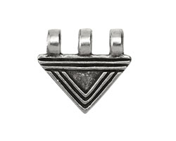 Greek Pewter Lined Triangle 3 Loop Pendant 25x23mm