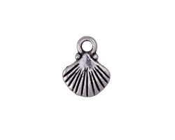 Antique Silver Finish Scallop Shell Charm 9x12mm