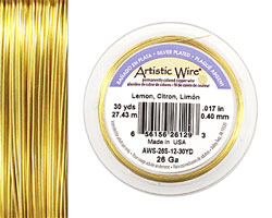 Artistic Wire Silver Plated Lemon 26 gauge, 30 yards