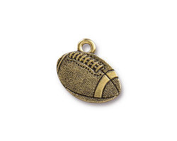 TierraCast Antique Gold (plated) Football Charm 18x17.5mm