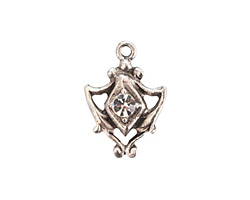 Nunn Design Antique Silver (plated) Medallion Crystal Charm 15x20mm