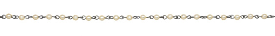 Czech Glass Cream Pearl on Antique Silver (plated) Bead Chain