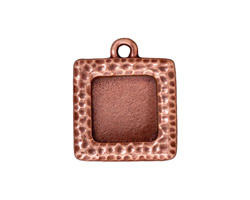 TierraCast Antique Copper (plated) Hammertone Square Frame Drop 19x22mm