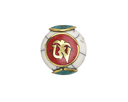 "Tibetan White Shell & Brass w/ ""Om"" on a Coral Center Coin Bead 19x18mm"