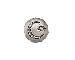 Zola Elements Antique Silver (plated) Crescent & Star Crystal Disc 7mm Flat Cord Slide 18mm