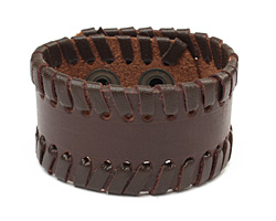 Brown Leather Stitched Edge Cuff 1 1/2""