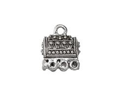 Antique Silver (plated) Caravan Tassel Cap w/ Loops 14x16mm