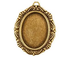 Stampt Antique Brass Damask Frame Oval Setting 18x25mm