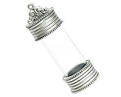 Nunn Design Antique Silver (plated) Glass Keepsake Pendant 59x20mm