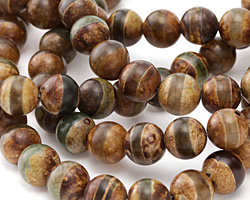 Tibetan (Dzi) Agate Dark Gray-Green Banded Round 12mm