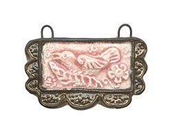 Gaea Ceramic Lace Bordered Raven in Blush Pendant 50x29mm