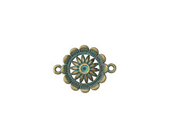 Zola Elements Patina Green Brass (plated) Flower within a Flower Link 28x21mm
