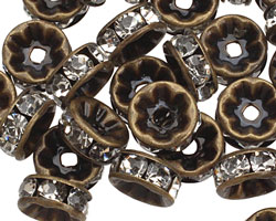 Vintage Brass (plated) Crystal Rhinestone Rondelle 8mm