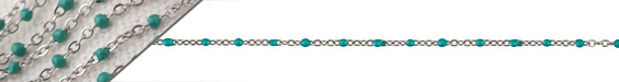 Stainless Steel Turquoise Small Cable Chain