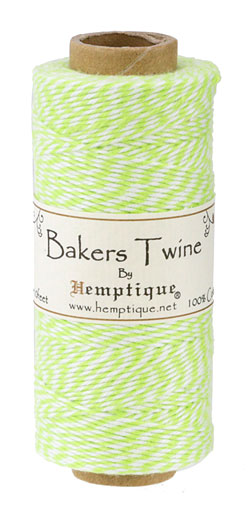Lime/White Bakers Twine 2 ply, 410 ft