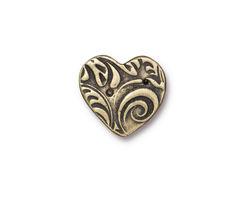 TierraCast Antique Brass (plated) Amor Heart Button 15x14mm