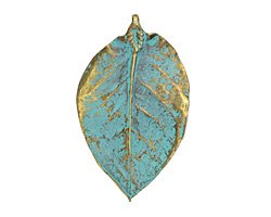 Zola Elements Patina Green Brass Magnolia Leaf Pendant 47x77mm