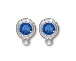 TierraCast Rhodium (plated) Stepped Bezel Ear Post w/ Sapphire Crystal 12x17mm