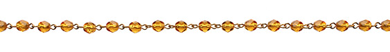 Czech Fire Polished Topaz Faceted Oval Gold (plated) Bead Chain