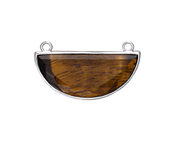 Tiger Eye Faceted Half Moon w/ Silver Finish Bezel Focal Link 32x18mm