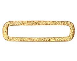 Brass Floral Rectangle Connector 64x18mm