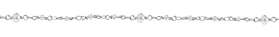 Zola Elements Clear AB Crystal 3mm & 6mm Imitation Rhodium (plated) Bead Chain
