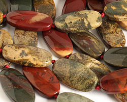 Apple Jasper Flat Oval 30x15mm