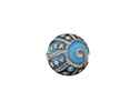 A Beaded Gift Silvered Aqua Tribal Swirl Glass Lentil 18mm