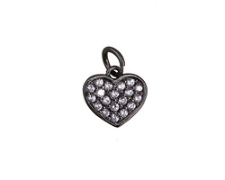 Clear Pave CZ Gunmetal (plated) Heart Charm 9x12mm