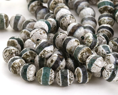 Tibetan (Dzi) Agate White-Green Banded Faceted Round 10mm
