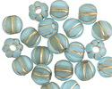 Czech Glass Aquamarine w/ Gold Wash Large Hole Melon Round 8mm