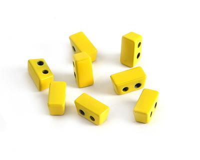 Yellow Enamel 2-Hole Tile Thin Rectangle Bead 4x8mm