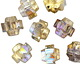 Czech Glass Crystal AB w/ Gold Etched Crown Bead 13x15mm