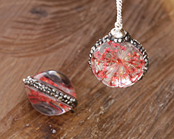 Glass Orb w/ Tomato Red Flower and Pave Crystals 22mm