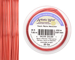 Artistic Wire Silver Plated Peach 20 gauge, 25 feet