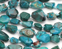 Chrysocolla (A) Faceted Nugget 12-16x10-12mm