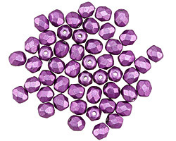 Czech Fire Polished Glass ColorTrends: Saturated Metallic Spring Crocus Round 4mm