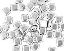 CzechMates Glass Silver 2-Hole Tile 6mm