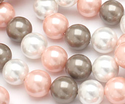 Fawn Shell Pearl Mix Round 12mm