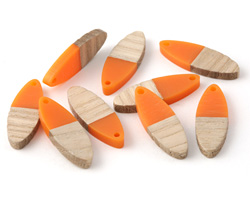 Wood & Tangerine Resin Oval Focal 10x28mm