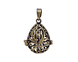 Antique Brass (plated) Filigree Teardrop Diffuser Locket 23x37mm