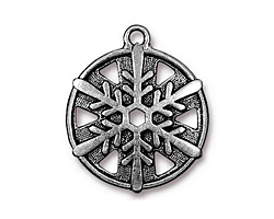 TierraCast Antique Silver (plated) Snowflake Drop 24x28mm