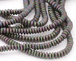Iris Green Hematite (matte) Rondelle 2x4mm