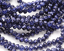 Metallic Cobalt (w/ etched facets) Crystal Faceted Rondelle 4mm