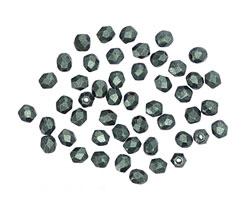 Czech Fire Polished Glass Emerald Metallic Suede Round 3mm