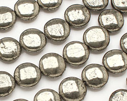 Golden Pyrite (silver tone) Puff Coin 12mm